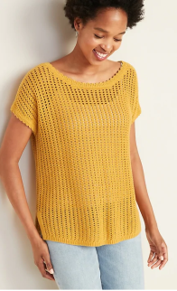 hole sweater mustard color